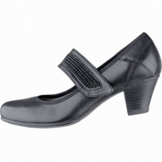 Jana trendige Damen Leder Pumps black, Jana Comfort Fußbett, Extra Weite H, 1140109/5.0