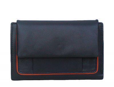 Leder Damenbörse schwarz/orange, 13xCC, 5 x Ausweis, exclusives Kalbnappa, ca. 13x10, 5 cm