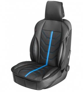 sportliche Universal Auto Kunstleder Sitzauflage Kimi blau, feste Seitenwange...