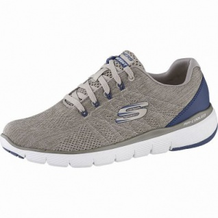 Skechers Flex Advantage 3.0 coole Herren Mesh Sneakers taupe, Air-Cooled Memory Foam-Fußbett, 4242122/39