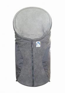 molliger Baby Winter Fleece Fußsack grau, für Tragschalen, Autositze, ca. 79x39 cm