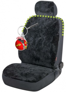 kuschelige Universal Reißverschluss Autositzfelle + Kopfstützenbezug schwarz, ZIPP IT System, echtes Lammfell, Sommer + Winter