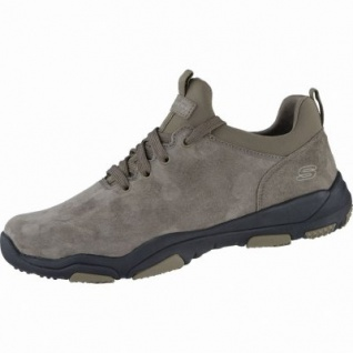 Skechers Larson Raxton coole Herren Leder Sneakers taupe, Skechers Air Cooled Memory Foam-Fußbett, 4239152/41