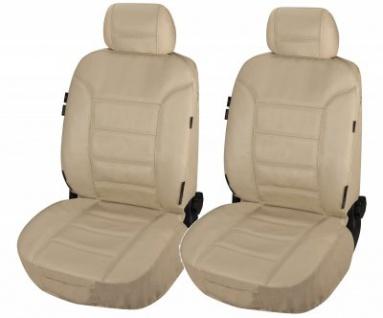ZIPP IT 2 Stück Universal Echt Leder Auto Sitzbezüge beige, RV System, Leder Auto Schonbezug