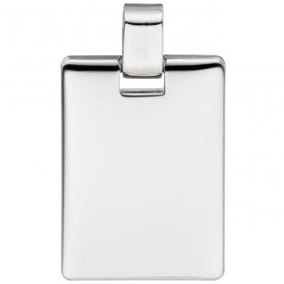 Anhänger Gravur Gravurplatte eckig 925 Sterling Silber massiv Silberanhänger