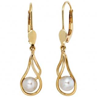 Boutons 585 Gold Gelbgold 2 Süßwasser Perlen Ohrringe Ohrhänger Perlenohrringe