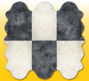 Fellteppiche naturweiß-grau aus 6 Lammfellen, Größe ca. 185 x 180 cm, 30 Grad waschbar