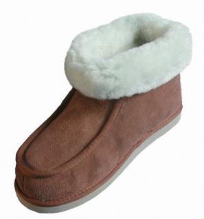 Chamier warme Damen Lammfell Haus Schuhe Paula camel mit Fellkragen, durchgehend nur Lammfell, Mikrogummisohle, Gr. 41