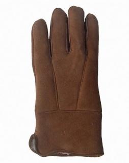 Herren Velourleder Lammfell Fingerhandschuhe aus Fellstücken hellbraun, Herren Fell Handschuhe, Größe 11