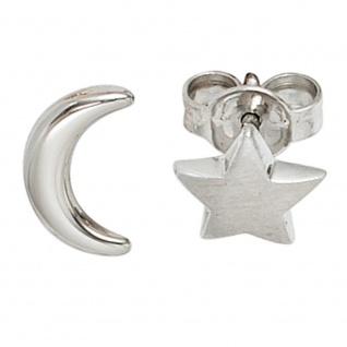 Ohrstecker Mond Stern 925 Sterling Silber rhodiniert mattiert Ohrringe