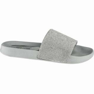 TOM TAILOR supercoole Damen Synthetik Pantoletten silver, weiches Fußbett, 1440169
