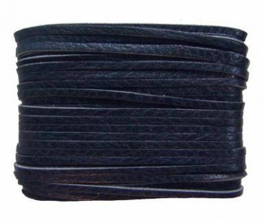 weiches Leder Flechtband Ziegenleder auf Karte dunkelblau, Länge 10 m, Breite ca. 2, 5 mm, Stärke ca. 1, 0 mm