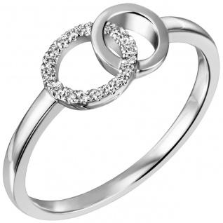 Damen Ring 585 Gold Weißgold 17 Diamanten Brillanten Weißgoldring