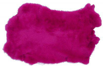 Kaninchenfelle pink gefärbt, ca. 30x30 cm, Felle vom Kaninchen mit seidigem Haar