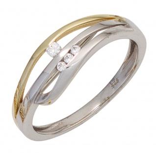 Damen Ring 925 Sterling Silber bicolor vergoldet 4 Zirkonia Silberring
