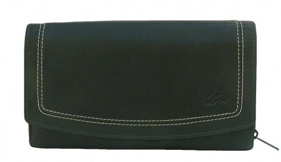Dolphin exklusive große Damen Leder Börse dunkelgrün, 9xCC, 3 Scheinfächer, e...