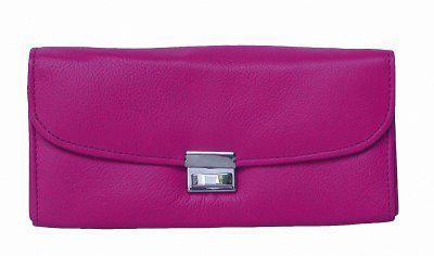 große Leder Kellner Geldbörse pink, 7 Fächer + Kleingeldfach, Öse, 18 cm breit, 9-11 cm hoch