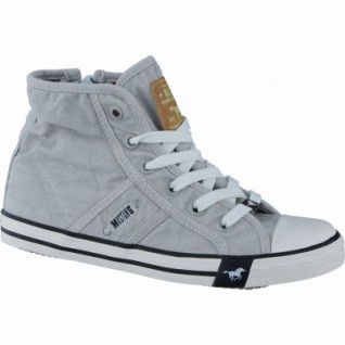 Mustang coole Mädchen Canvas Sneakers High hellgrau, Mustang-Laufsohle, 3338124/37