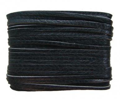 weiches Leder Flechtband Ziegenleder auf Karte schwarz, Länge 10 m, Breite ca...