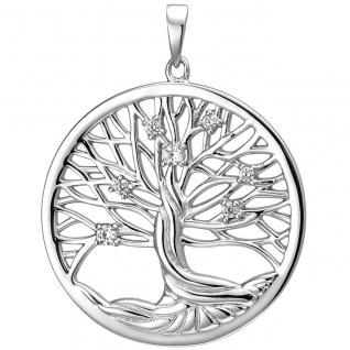 Damen Anhänger Lebensbaum 925er Sterling Silber mit 7 Zirkonias, Silberanhänger