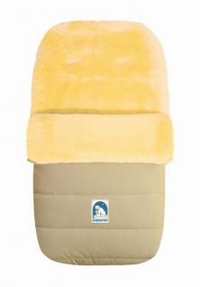 warmer Baby Winter Lammfell Fußsack beige waschbar, für Kinderwagen, Buggy, ca. 86x47 cm, 5-Punkt-Gurtschlitze