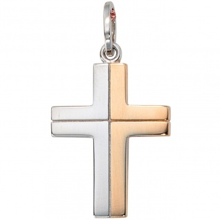 Anhänger Kreuz 585 Gold Weißgold bicolor Kreuzanhänger Goldkreuz