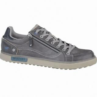 Mustang coole Herren Leder-Imitat Sneakers grau, flexible-Laufsohle, 2137127/44