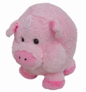 süßes superweiches Stofftier Kuscheltier Kugel Schwein aus Mikrofaser rosa, voll waschbar bei 30 Grad, Ø ca. 16 cm
