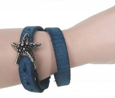Boom Belts cooles Damen, Herren echt Leder Armband blau, Unisex Leder Wickel Armband, ca. 43x1 cm, für 1 cm Schließen