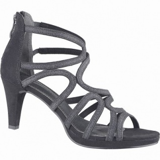 Marco Tozzi glamouröse Damen Leder Imitat Sandaletten schwarz, weiche Decksohle, weiche Laufsohle, 1442129/36