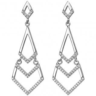 modische Ohrhänger 925er Sterling Silber mit 92 Zirkonias, Silber Ohrhaken