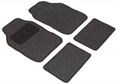 Komplett Set Universal Polyester Auto Fußraum Matten schwarz 4-teilig, rutschfest beschichtet, alle PKW