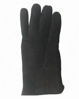 Herren Velourleder Lammfell Fingerhandschuhe aus Fellstücken schwarz, Herren Fell Handschuhe, Größe 11