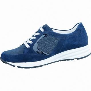 Waldläufer Kimari 15 sportlicher Damen Leder Sneaker deepblue, Waldläufer Leder Fußbett, Extrem Weite K, 1336127/4.5