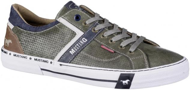 MUSTANG Herren Leder Imitat Sneakers dunkelgrün, Textilfutter, weiche Decksohle