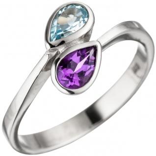 Damen Ring 925 Sterling Silber 1 Amethyst lila violett 1 Blautopas hellblau blau