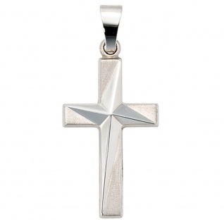 Anhänger Kreuz 375 Gold Weißgold teil matt Kreuzanhänger Weißgoldkreuz