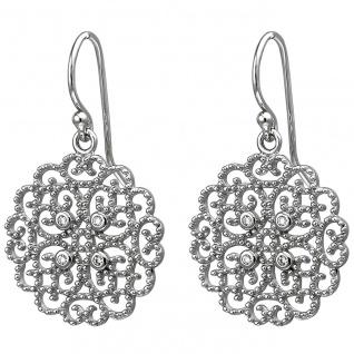 Damen Ohrhänger 925er Sterling Silber mit 8 Zirkonias, Gipsy Style, Hippie, S...