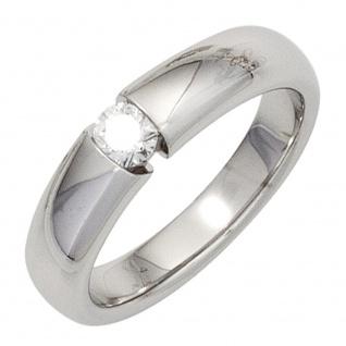 Damen Ring 585 Gold Weißgold 1 Diamant Brillant 0, 20ct. Diamantring Weißgoldring
