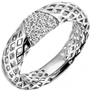 Damen Ring 925 Sterling Silber 14 Zirkonia Silberring
