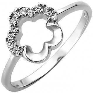 Damen Ring Blume 925 Sterling Silber 11 Zirkonia Silberring