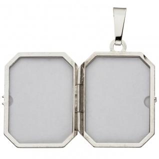 Medaillon achteckig für 2 Fotos 925 Sterling Silber eismatt Anhänger zum Öffnen