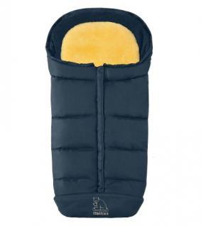warmer Baby Lammfell Winter Fußsack marineblau waschbar, herausnehmbare Lammfell Einlage für Kinderwagen, Buggy, ca. 105x47 cm - Vorschau 1