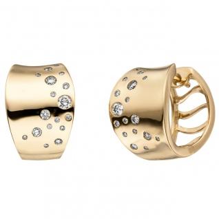 Creolen 585 Gold Gelbgold 34 Diamanten Brillanten Ohrringe Goldcreolen