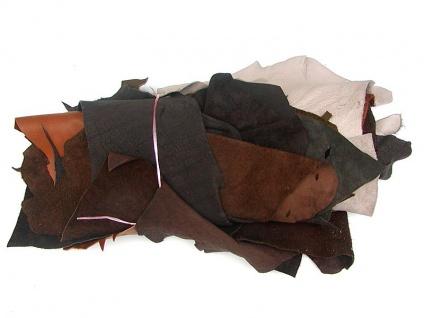 2 kg Bastelleder bunt gemischt, Lederreste, viele Farben, verschiedene Stärken