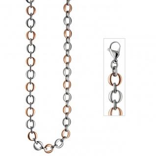 Collier Halskette aus Edelstahl rotgold farben beschichtet bicolor 47 cm Kette - Vorschau 2