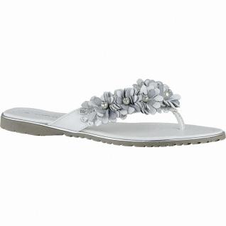Marco Tozzi stylishe Damen Leder Pantoletten mit Blüten weiß, weiche Laufsohle