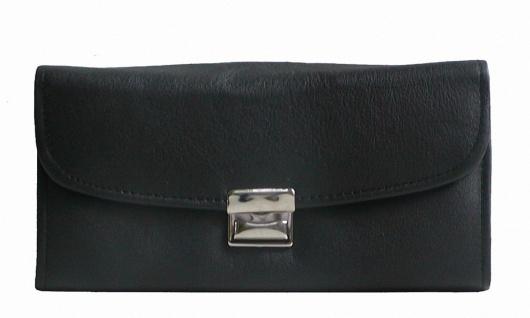große Leder Kellner Geldbörse schwarz, 7 Fächer + Kleingeldfach, Öse, 18 cm b...