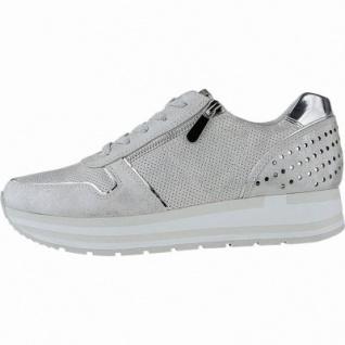 Marco Tozzi sportliche Damen Metallic Synthetik Sneakers silber, gepolsterte Feel me Decksohle, 1240157/37