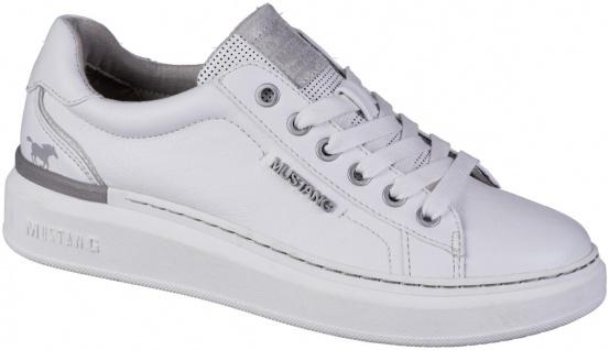 MUSTANG Damen Leder Imitat Sneakers weiß, Textilfutter, softe Decksohle